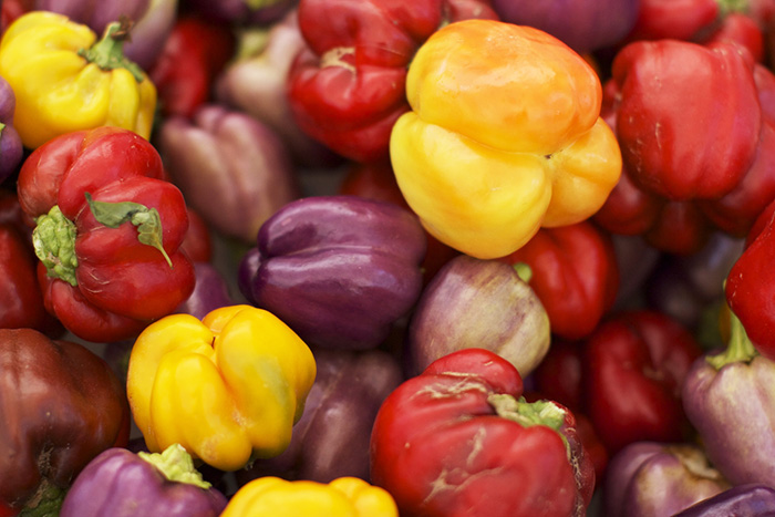 assorted peppers bell green red yellow banana