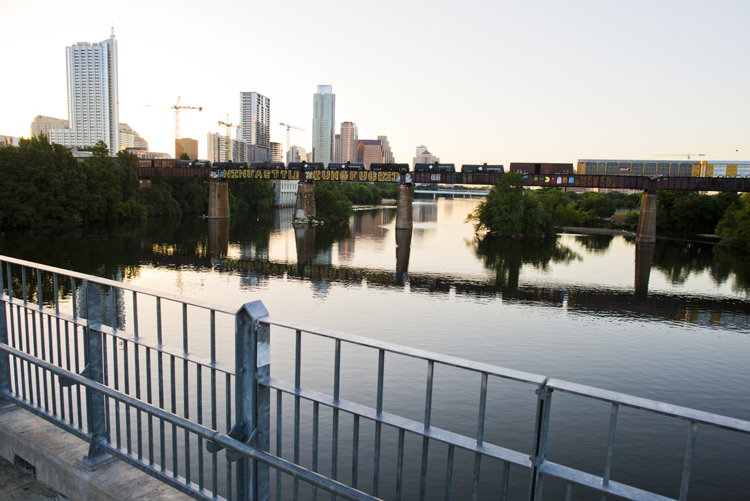 view of downtown from pfluger pedestrian bridge