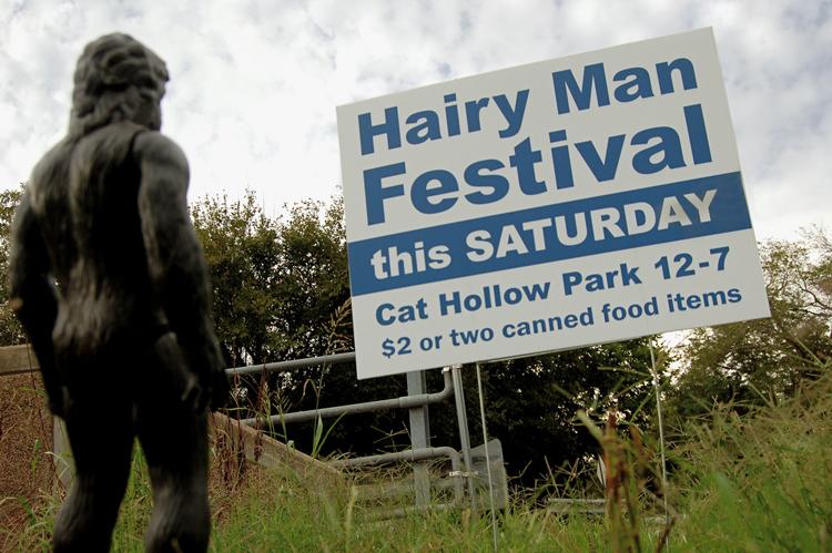 hairy man round rock bigfoot yeti big foot festival