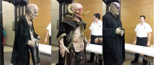 Three people dressed as demons at a recent Austin City Council meeting. Screenshot via Facebook.