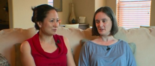 Cleopatra De Leon (left) and Nicole Dimetman, the Austin couple whose lawsuit could bring marriage equality to Texas. Screenshot via KXAN-TV.