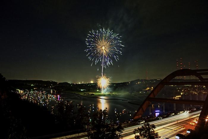 pennybacker loop 360 bridge overlook bluff cliff viewpoint lookout fireworks highway bridge new year
