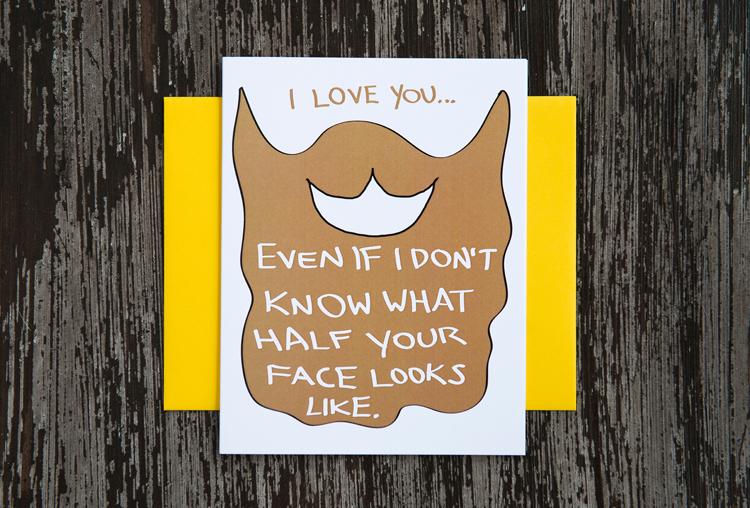jolly warrior card beard hipster hippie greeting funny humor comic