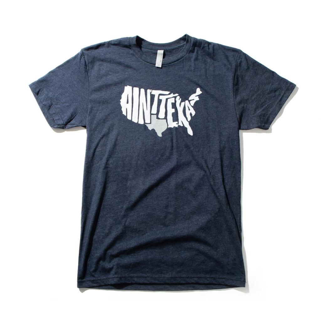 Jay B. Sauceda named his first tee shirt design Ain't Texas. Photo: Texas Humor.