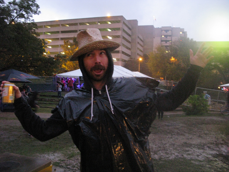 keep austin weird drunk wasted hippie hat beard rain poncho