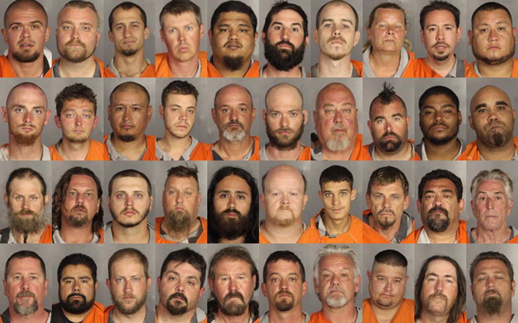 <I>A selection of mugshots showing the 177 people arrested in Waco.</I>