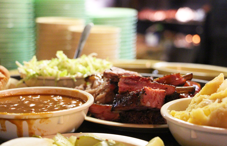 salt lick bar-b-que bbq barbecue county line brisket cole slaw beans sausage sauce potato salad