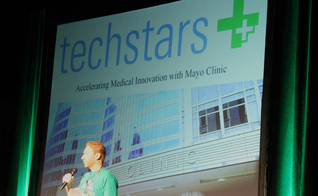 Jason Seats addresses the Austin TechStars Demo Day 2015 audience. Photo: Stephen C. Webster.