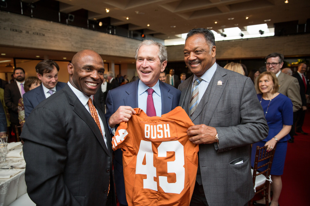 Charlie Strong, President George W. Bush and Rev. Jesse Jackson. Photo: Flickr user LBJ Foundation, creative commons licensed.