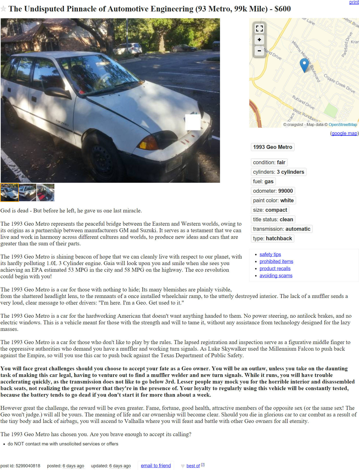 Austin Com This Epic Craigslist Ad For A 1993 Geo Metro Is Everything
