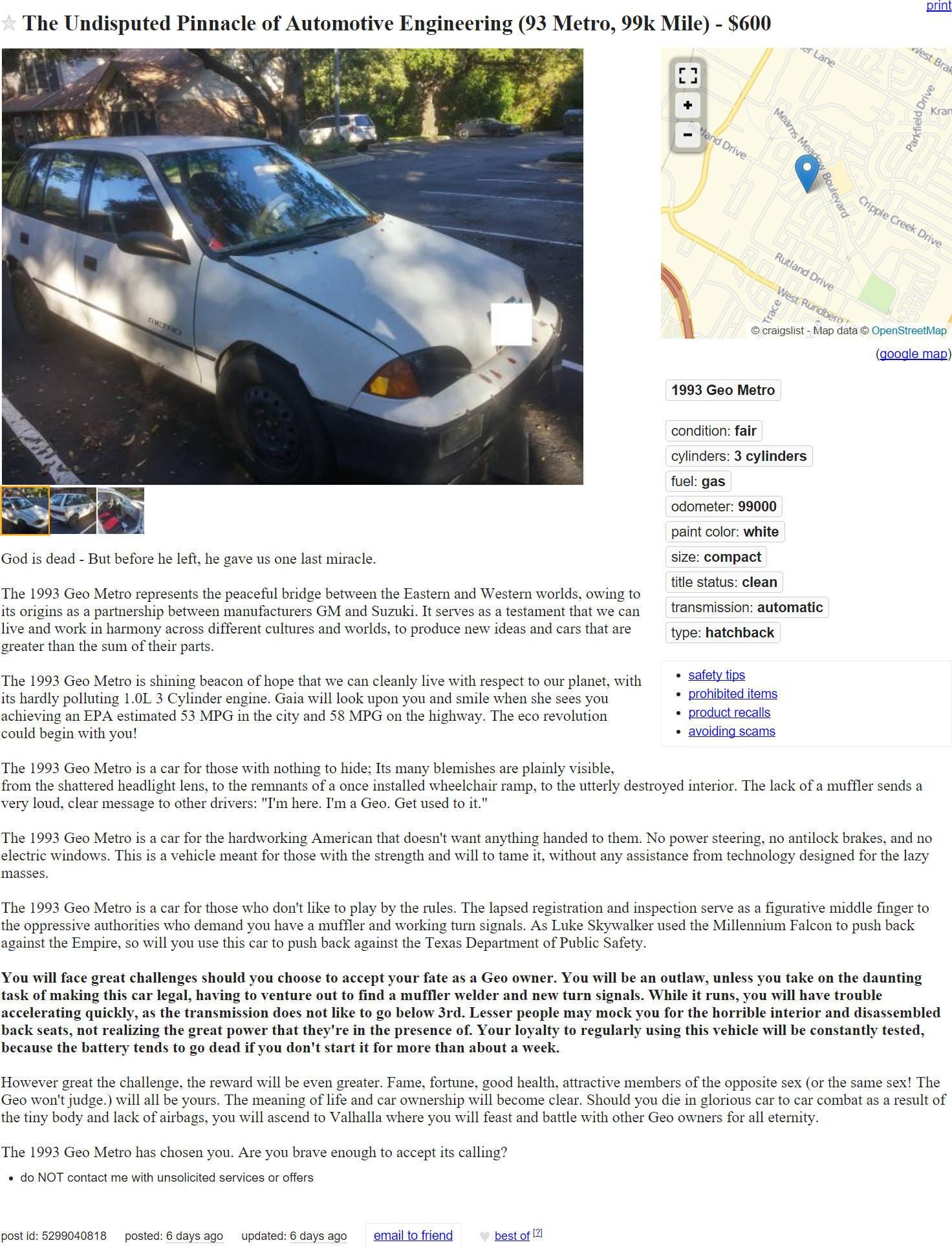 Austin.com This Epic Craigslist Ad For A 1993 Geo Metro Is ...
