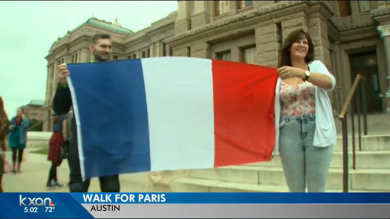 Texans March Through Downtown Austin In Solidarity With France