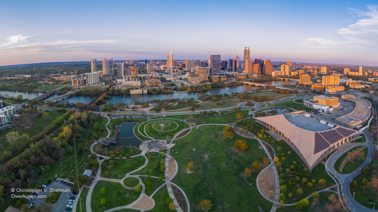 chris sherman butler park zilker park fountain city austin skyline over austin aerial drone photography camera