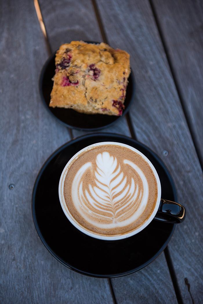 latte coffee espresso cranberry orange muffin bread pastry food