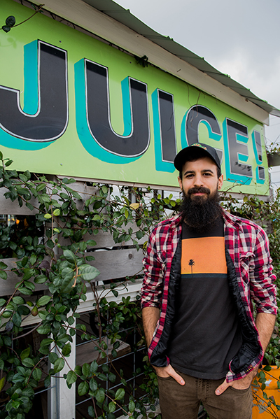 Joshua Leather, manager of JuiceLand's North Burnet store. Favorite flavors: Julio Verde, Wundershowzen, Originator