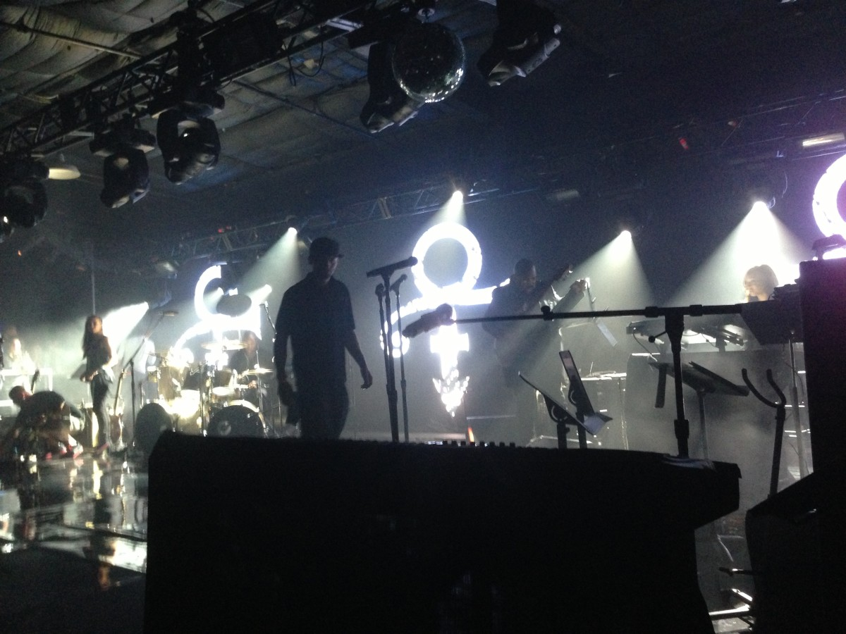 Sadly, it was also a no-cameras-allowed show, by order of Samsung. This photo of the crew setting up Prince's stage was all I could get.