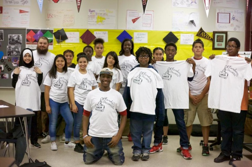 Students from Kealing Middle School who participated in an Attendance Records course. Photo via Facebook.