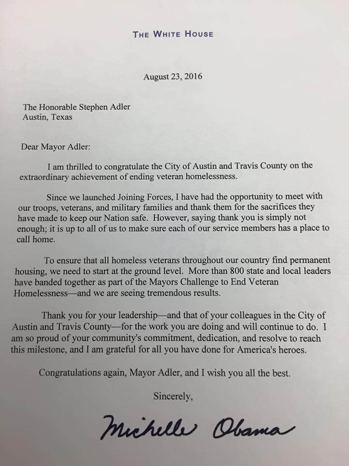 Michelle Obama letter to Mayor Adler