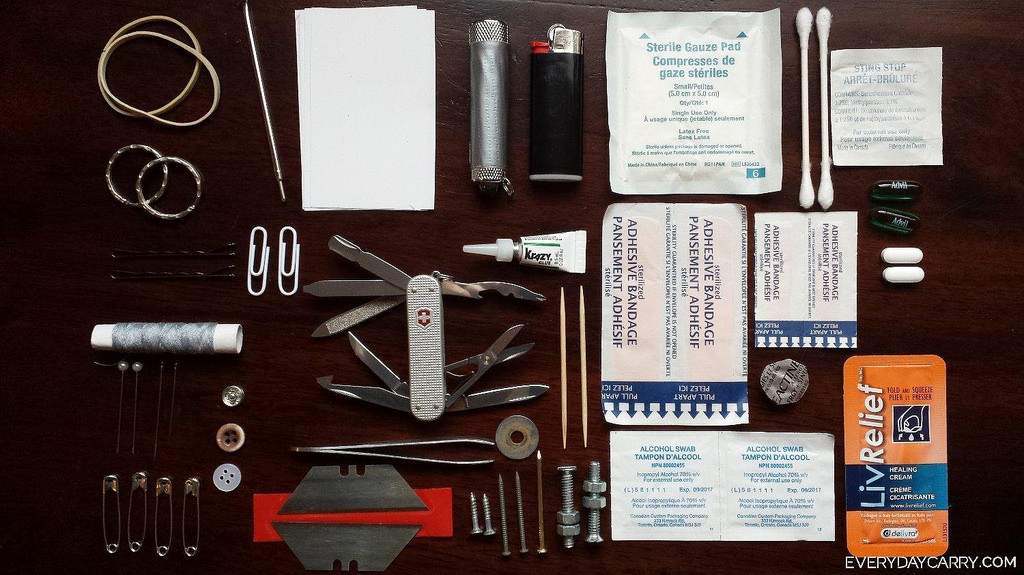 Various items in a survival kit