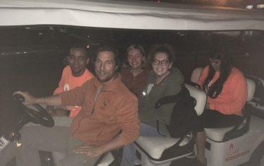 Matthew McConaughey Chauffeurs UT Students Around Campus