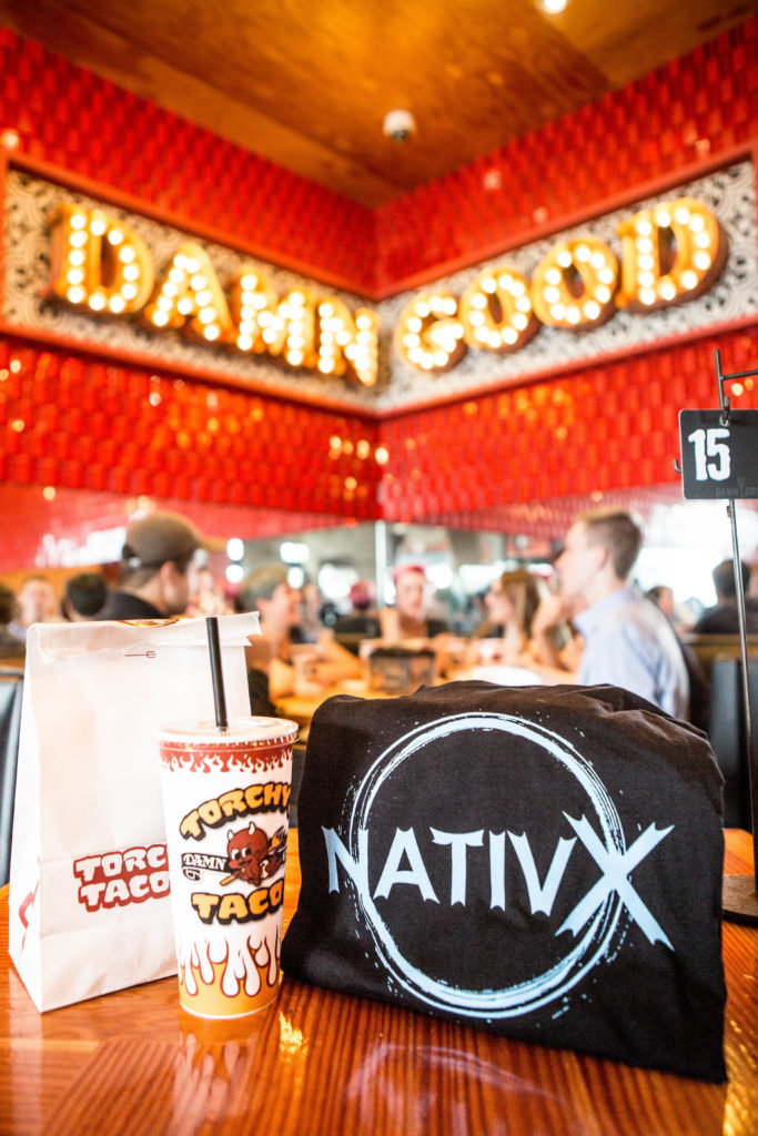 NativX brand positioned in Torchy's Tacos restaurant