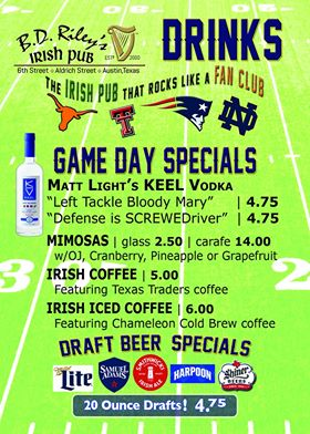 A flyer containing a list of the drink specials at BD Riley's.