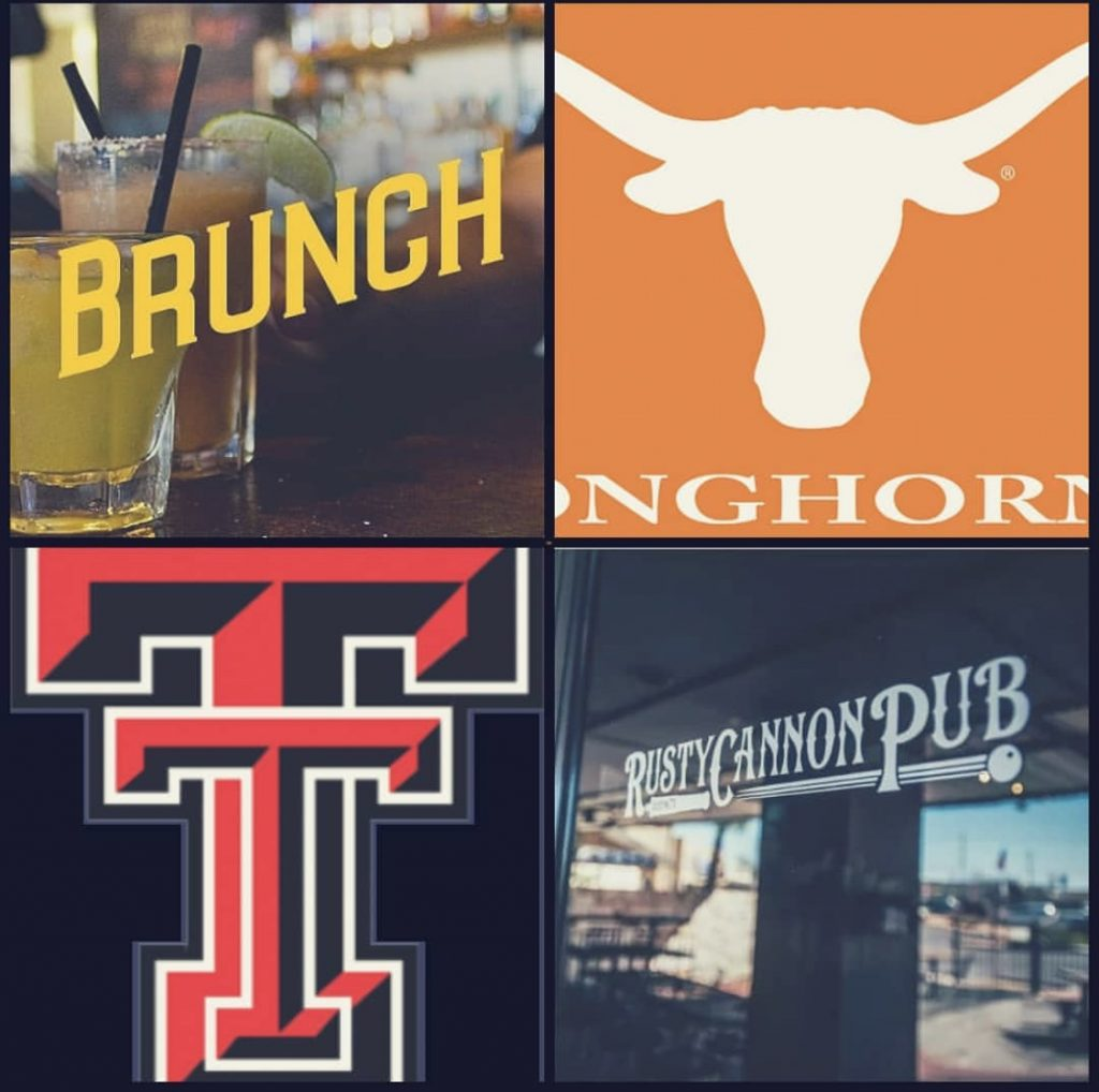 A collage of photos that include the Longhorns football and Texas Tech logos, margaritas, and the door of the Rusty Cannon Pub.