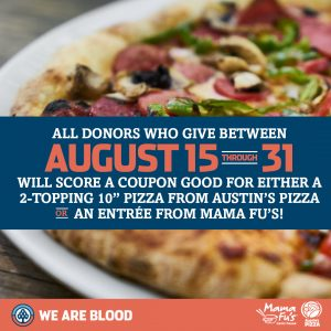 We Are Blood Partners with Mama Fu's & Austin Pizza