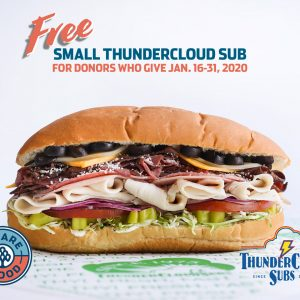 Free Small ThunderCloud Sub for We Are Blood Donors