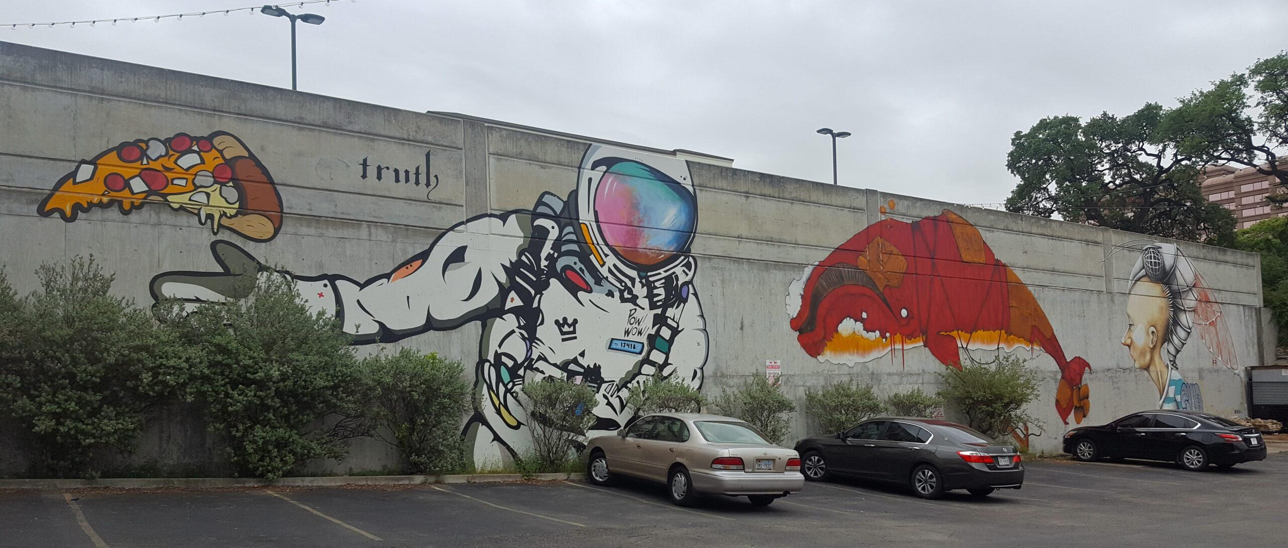 Astronaut Pizza Mural