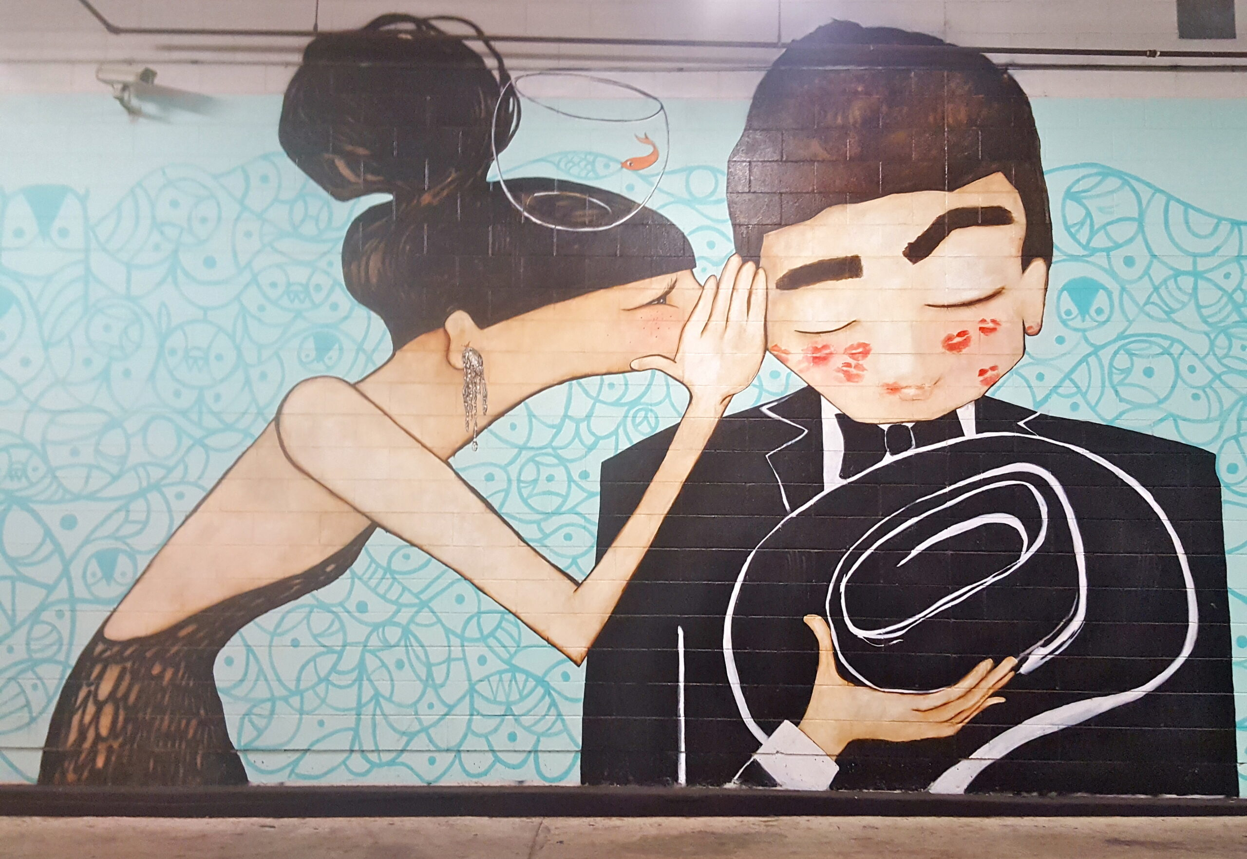 Parking Garage Couple Mural