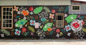Flowers Leaves Lips Mural