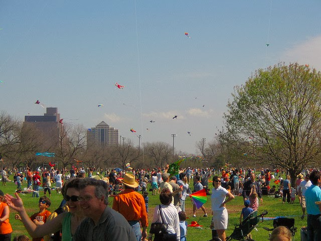 People at Zilker Park for ABC Kite Festival