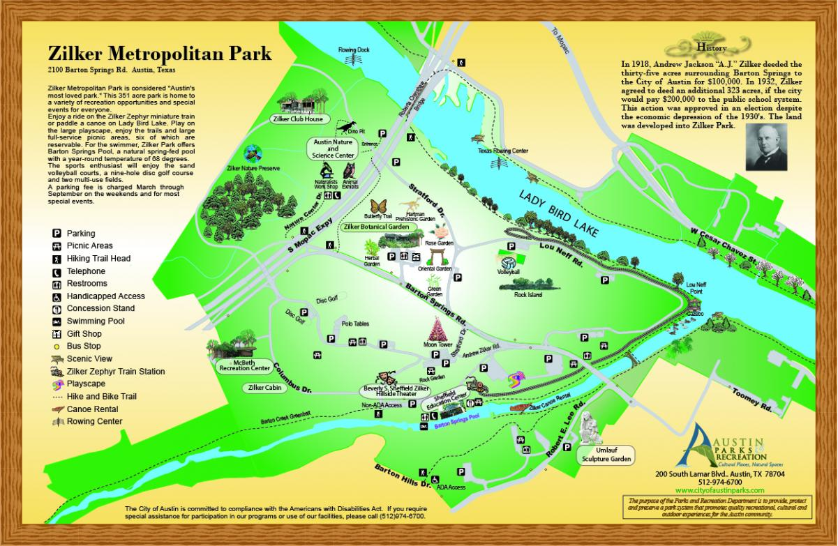 a map of Zilker Park
