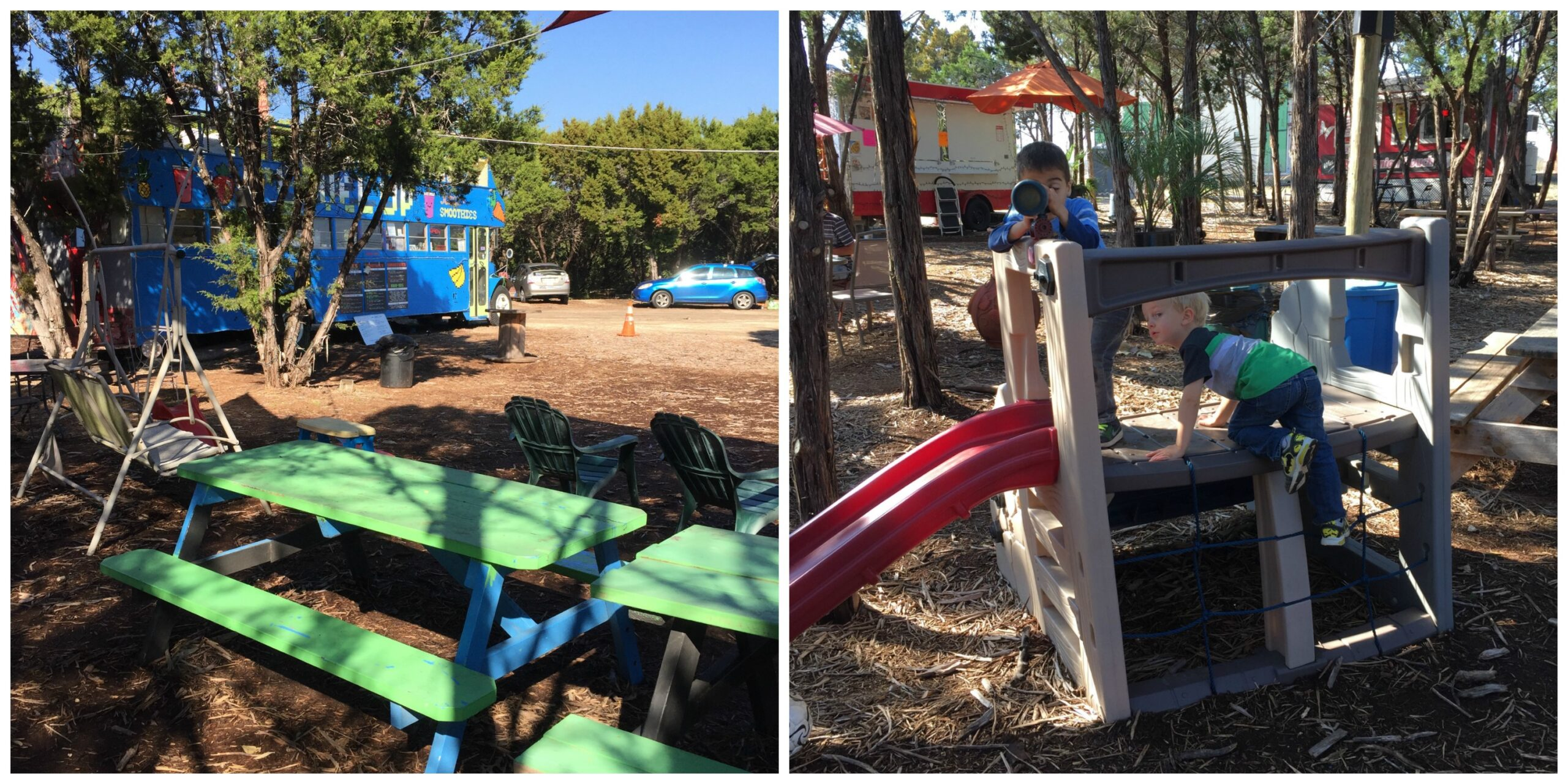 View of Level Up bus; kids on playscape at The Thicket | Free Fun in Austin