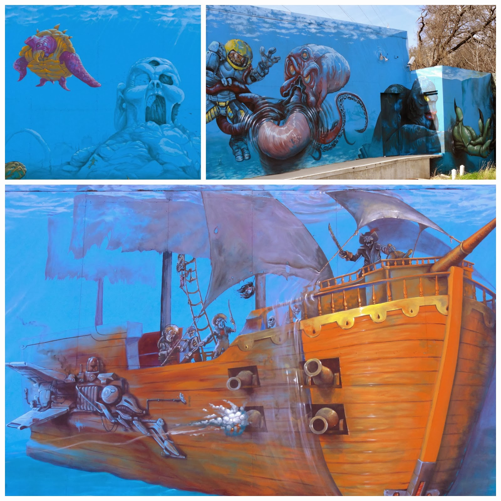 Austin mural Sea Monsters: 10938 Research Blvd